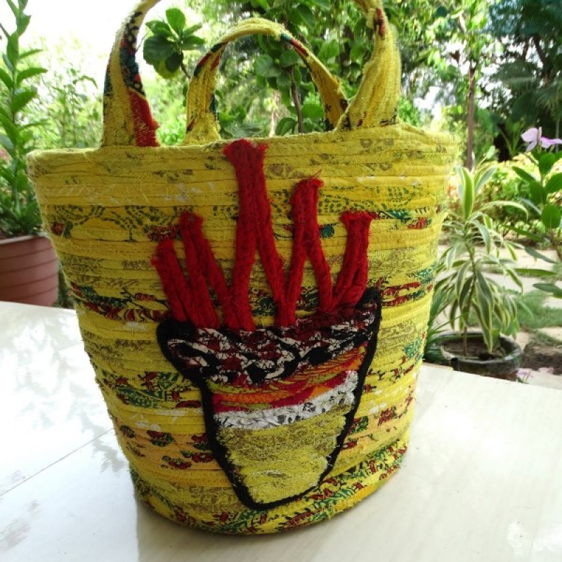 9 inch coiled rope basket bag w agni no lining